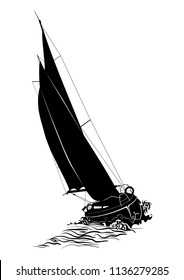 Sailing boat. Silhouette of a sailboat on the sea. Flat vector.