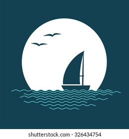 Sailing boat, sun and waves. Vector illustration.