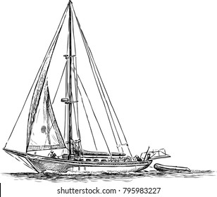 Sailing boat in a travel