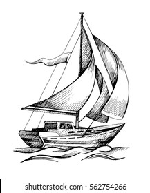 Sailing boat vector hand drawn sketch isolated with waves. Sea yacht floating on the water surface.