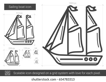 Sailing boat vector line icon isolated on white background. Sailing boat line icon for infographic, website or app. Scalable icon designed on a grid system.