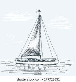 Sailing boat Vector sketch