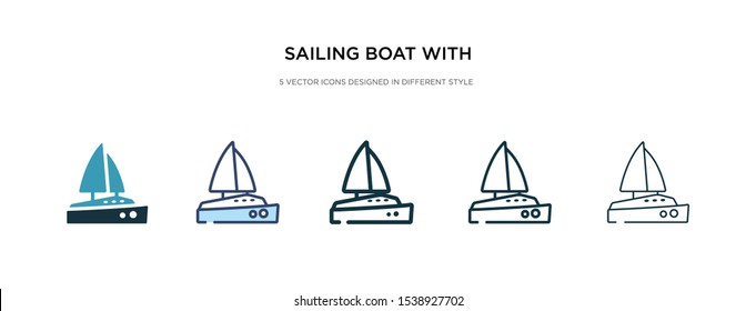 sailing boat with veils icon in different style vector illustration. two colored and black sailing boat with veils vector icons designed in filled, outline, line and stroke style can be used for