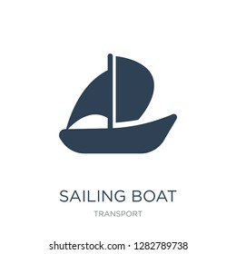 sailing boat with veils icon vector on white background, sailing boat with veils trendy filled icons from Transport collection, sailing boat with veils vector illustration
