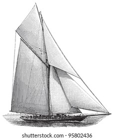 Sailing boat / vintage illustration from Meyers Konversations-Lexikon 1897