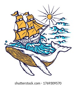 sailing boat and whale vector illustration
