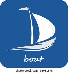 Sailing boat. White sailboat on the blue water. Yacht that sails on the waves. Stylized vector image of the floating boats with blue sails. Can be used as emblem of yacht club, marine club, hotel...