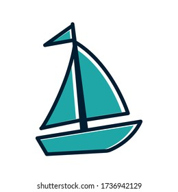 Sailing boat, yacht icon vector on white background