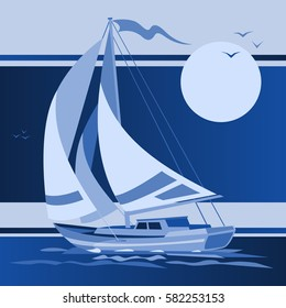 Sailing boat yacht in the night sky vector illustration. Sea and ocean travel element. Sports and holiday template.