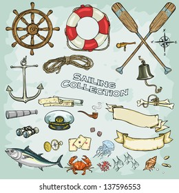 Sailing Collection. Set of nautical design elements