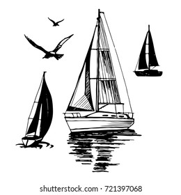 Sailing. Extreme lifestyle. Silhouette of a boat on a white background. Sea yachts. Flying seagulls. Set of vector illustrations.