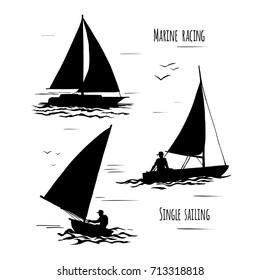 Sailing.  Extreme lifestyle.  Silhouette on white background. Set of vector illustration.
