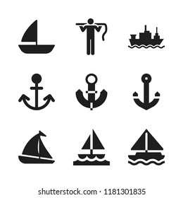sailing icon. 9 sailing vector icons set. merchant ship, carrier and anchor icons for web and design about sailing theme