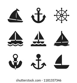 sailing icon. 9 sailing vector icons set. rudder, sailboat and anchor icons for web and design about sailing theme