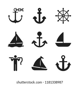 sailing icon. 9 sailing vector icons set. carrier, sailboat and rudder icons for web and design about sailing theme