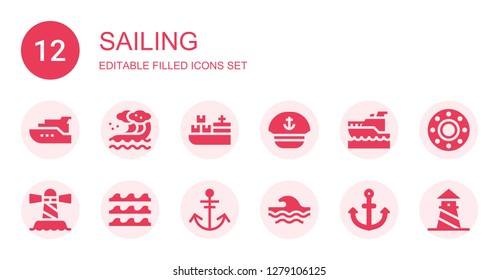 sailing icon set. Collection of 12 filled sailing icons included Yacht, Wave, Cargo ship, Sailor, Yatch, Lighthouse, Waves, Anchor, Transport