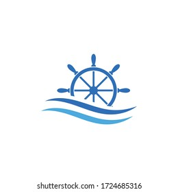 sailing logo - ship steering and wave.Conceptual vector illustration in flat style design.Isolated on background.