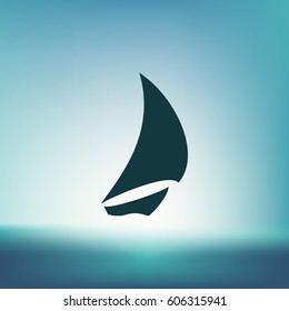 Sailing logo, yacht on waves vector icon