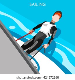 Sailing Race Sportsman Games. 3D Isometric Sailor and Laser Class Sailboat. Sailing and Racing Laser One Sporting People Competition Race. Sport Infographic Sailing events set Vector Illustration