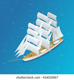 Sailing ship. Can be used for advertisement, infographics game or mobile apps icon.