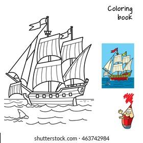 Sailing ship. Coloring book. Cartoon vector illustration