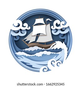 Sailing ship floating on sea water, vector illustration in paper art craft style. Beautiful marine composition with sailboat and stormy waves. Sea travel and adventure concept.
