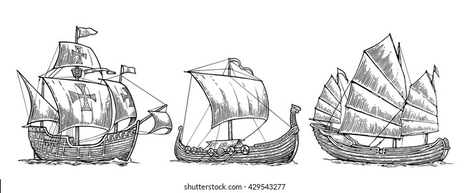 Sailing ship floating on the sea waves. Hand drawn design element Drakkar Vikings, Caravel, junk. . Vintage vector engraving illustration for poster, label, postmark. Isolated on white background.