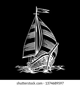 Sailing ship floating on the waves. Hand drawn engraving scratchboard style imitation. Isolated on a black background.