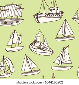 Sailing ship hand drawn doodle seamless pattern. Sketches. Vector illustration for design and packages product. Symbol collection.