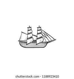 Sailing ship hand drawn outline doodle icon. Vintage sailboat, adventure and sailing, cruise travel concept. Vector sketch illustration for print, web, mobile and infographics on white background.
