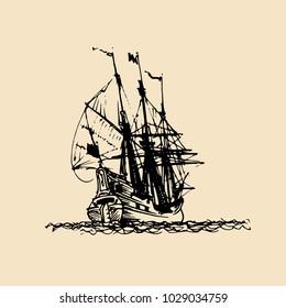 Sailing ship illustration in engraved style. Hand sketch of old fluyt. Marine theme design.