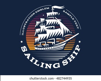 Sailing ship illustration on dark background