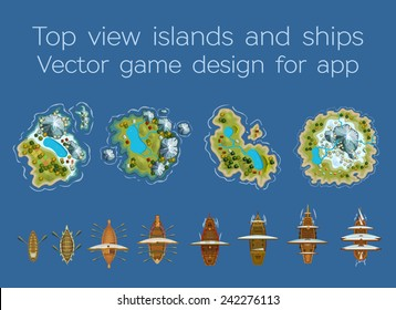 Sailing ship and islands top view. Vector design for app game user interface