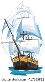 Sailing ship isolated. Color vector illustration
