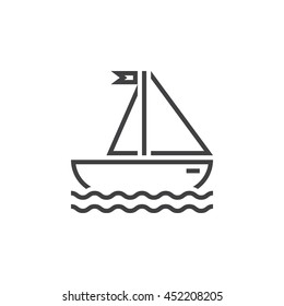 sailing ship line icon, outline sailboat vector logo, linear pictogram of yacht isolated on white, pixel perfect illustration