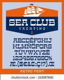 Sailing ship logo design template and vintage retro style slab serif font set
