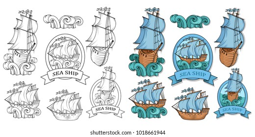 Sailing Ship logo. Old sail ship. Ship on waves. Sailing boat with sail. Pirate ship. Retro Cargo boat. Sea company vector logo design template. Color vector illustration. Vector graphics to design