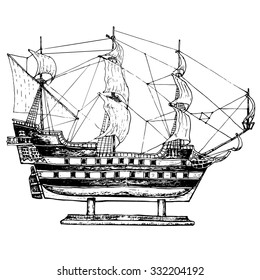 Sailing ship model. Hand drawn illustranion