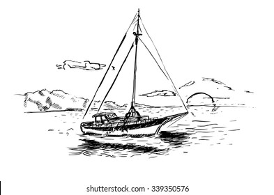 Sailing ship in the ocean in ink line style. Hand drawn boat