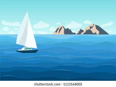 Sailing ship in the ocean. Mountain landscape. Vector flat style illustration.