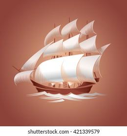 Sailing ship. Old vessel. Vector illustration on brown background