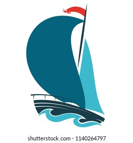 Sailing ship on blue waves design