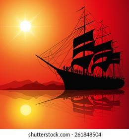 Sailing ship on the sea at sunset skyline. Vector illustration