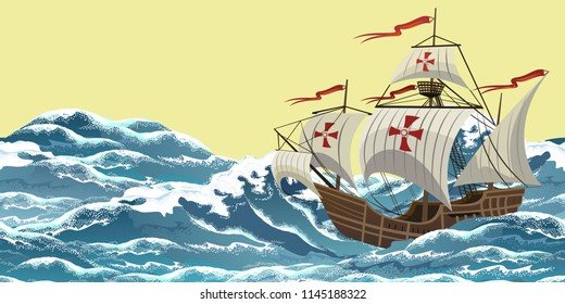 Sailing ship on sea waves, realistic vector illustration for Columbus Day design.