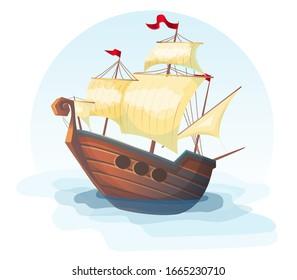 Sailing ship, pirate ship in cartoon style, fregat vector illustration