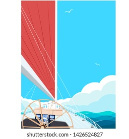 Sailing ship with red sail. View from sailboat captain cabin. Cloudy sky and deep blue sea water. Luxury yacht race, ocean sailing regatta vector. Nautical worldwide yachting and traveling.