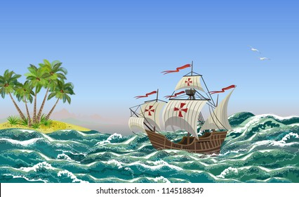Sailing ship with sea waves and tropical island, vector illustration for Columbus Day design.