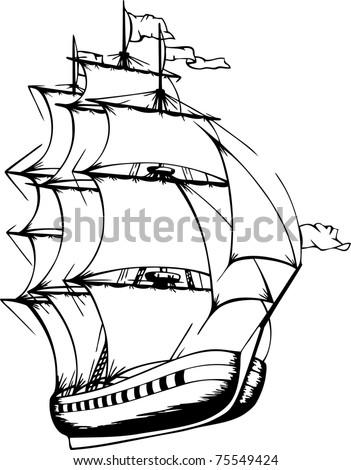 Sailing Ship Vector Stock Vector Royalty Free 75549424