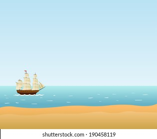 Sailing Ship. Vector background