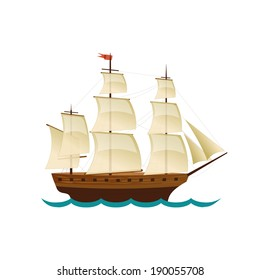 Sailing Ship. Vector design for app game user interface